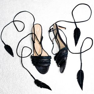 BABANA REPUBLIC LACE UP ANKLE FEATHER KITTEN HEEL